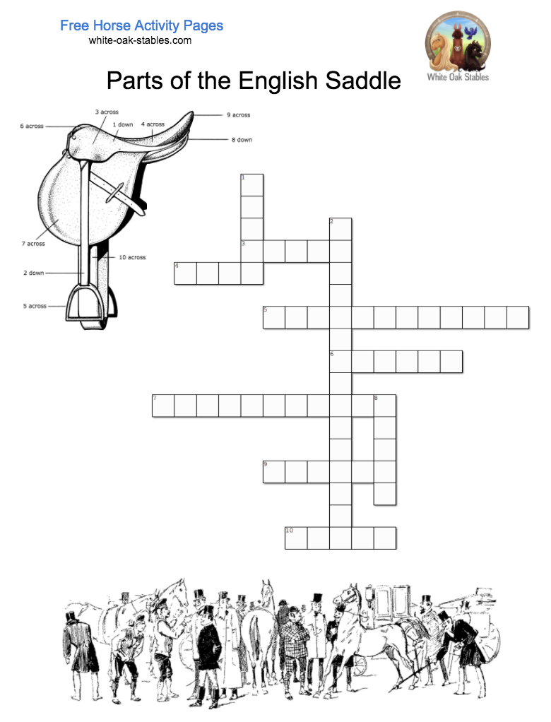 Parts of English Saddle Crossword – Activity Page