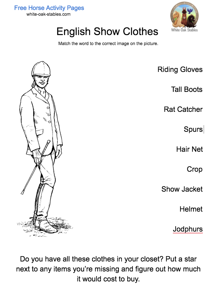 English Show Clothes – Activity Page