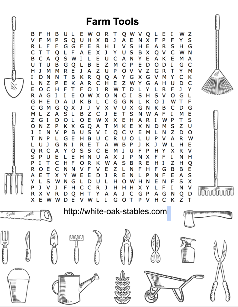 Farm Tools Word Search