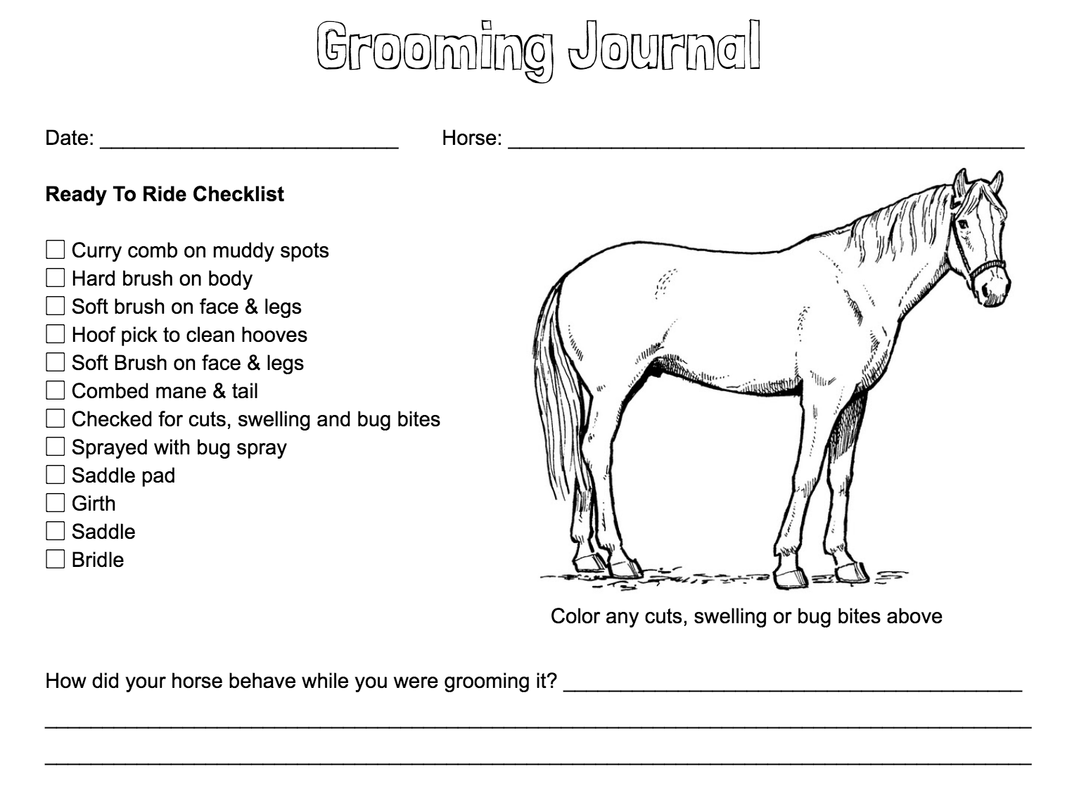 Grooming Journal – Coloring Page