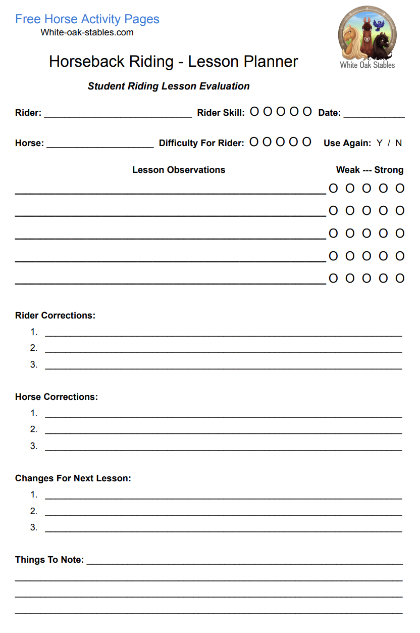 Riding Instructor Lesson Planner