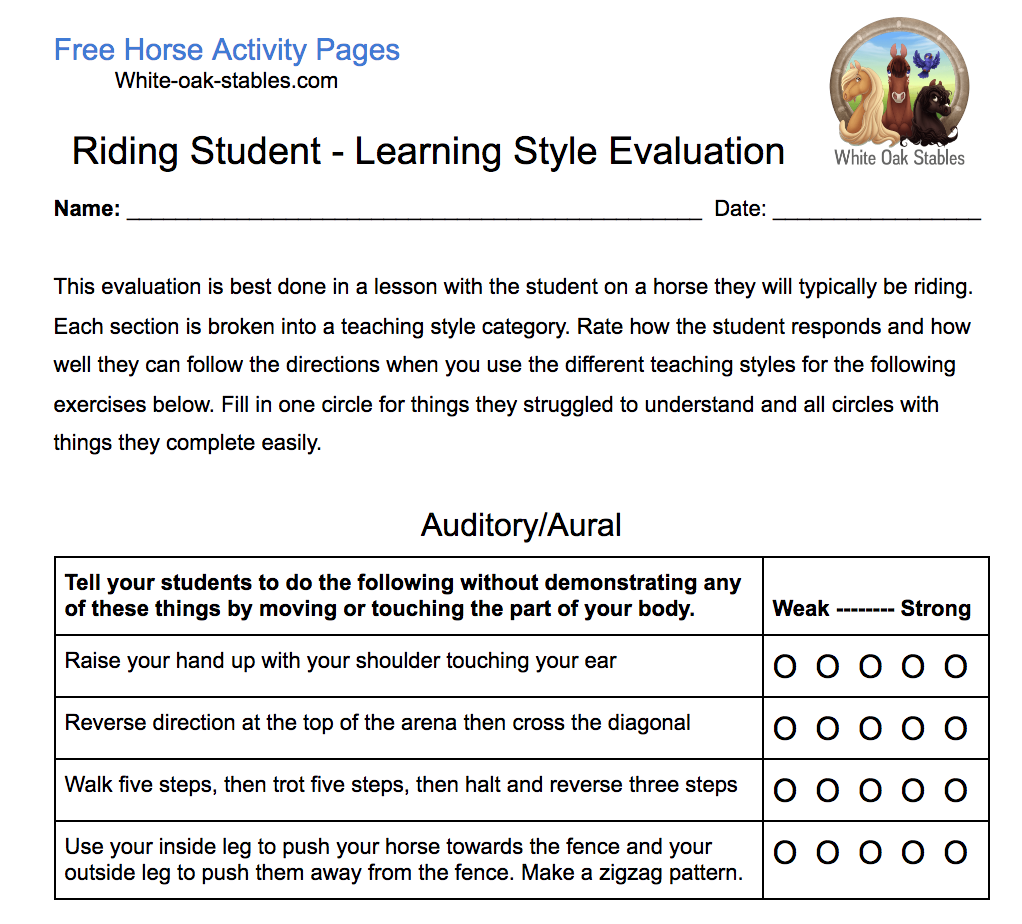 Riding Instructor Learning Style Evaluation